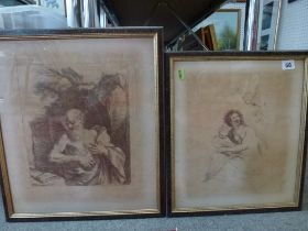 Five antique engravings after various old masters including Guercino by Bartolozzi (largest 28 x