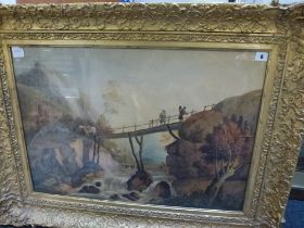 P. Wilkes, an 18th century watercolour of figures on a wooden bridge over a mountain river,