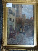 Nino Della Gatta, oils on panel, a back street in an Italian city, signed (23 x 15 cm), gilt