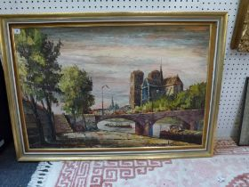 Continental school, oils on canvas, the Ile St Louis with Notre Dame, signed (illegible) (59 x 90