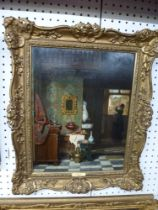 Charles Joseph Grips, oils on panel, a Continental interior with a woman at an open window, signed