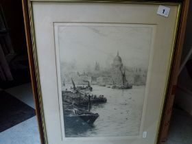 W.L. Wyllie, a pair of etchings of the Thames in London, at St Paul's and at the Tower of London,