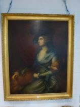 After Gainsborough, oils on canvas, a portrait of the actress Mrs Siddons (1755-1831), in