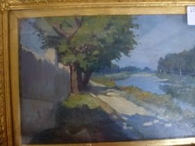 Nino Della Gatta, oils on panel, a sunlit river and towpath, signed (23 x 15 cm), gilt frame. WE