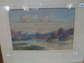 James Ritchie, a watercolour, The River Awe entering Loch Etive, signed (33 x 50 cm) framed. WE DO