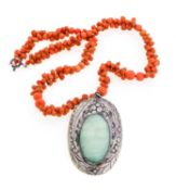 CORAL SILVER AND JADE NECKLACE