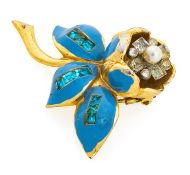 BROOCH WITH ENAMELS AND ZIRCONIA