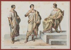 PAIR OF ENGRAVINGS OF ROMAN SENATORS AND ROMAN ART 19TH CENTURY