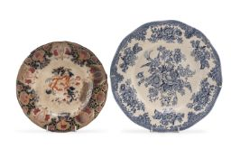 TWO EARTHENWARE DISHES ENGLAND 19TH CENTURY