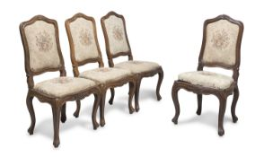 FOUR CHAIRS IN WALNUT LOMBARDY 18TH CENTURY