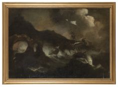 OIL PAINTING OF STORMY SEA BY 17TH CENTURY DUTCH PAINTER