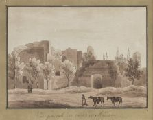FOUR SEPIA LANDSCAPES OF FRENCH SCHOOL EARLY 19TH CENTURY