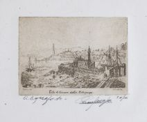ETCHING OF THE PORT OF GENOA BY E. METALLO (20TH CENTURY)