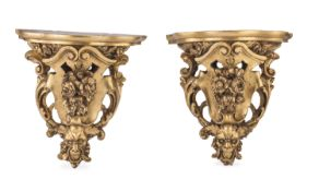 PAIR OF GILTWOOD SHELVES 19TH CENTURY