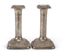 PAIR OF SILVER-PLATED CANDLESTICKS ITALY 20TH CENTURY