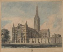 ENGRAVING OF THE SALISBURY CATHEDRAL 19TH CENTURY