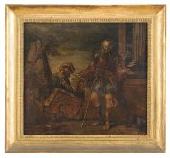 TEMPERA PAINTING OF HISTORICAL EPISODE BY A ROMAN PAINTER 19TH CENTURY