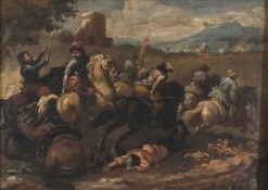 OIL PAINTING OF KNIGHTS' ATTACK LATE 18TH CENTURY