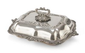 SILVER-PLATED ENTREE DISH WALKER & HALL 19TH CENTURY