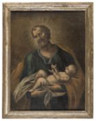 OIL PAINTING SAINT JOSEPH AND CHILD BY A NAPOLETAN PAINTER 18TH CENTURY