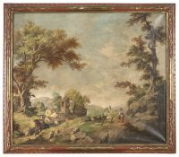 OIL PAINTING OF LANDSCAPE IN THE MANNER OF FRANCESCO ZUCCARELLI