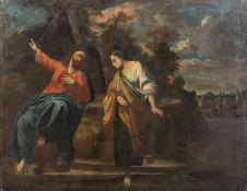 OIL PAINTING CHRIST AND THE SAMARITAN OF BOLOGNESE SCHOOL