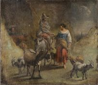 OIL PAINTING OF A PASTORAL SCENE BY PAINTER ACTIVE IN ROME LATE 18TH CENTURY