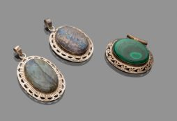 THREE PENDANTS WITH HARD STONES