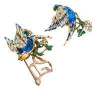 BROOCH DUETTE CORO DESIGN ADOLPH KATZ IN GILDED STERLING SILVER