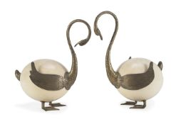PAIR OF OSTRICH EGGS 20TH CENTURY