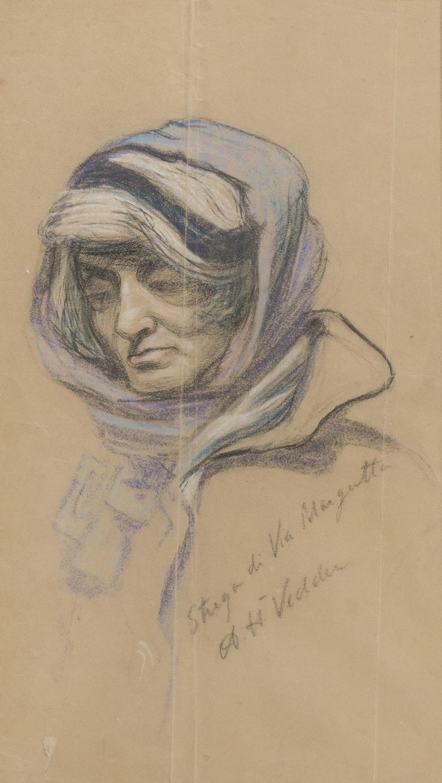 PASTEL DESIGN OF THE WITCH OF VIA MARGUTTA BY ELIHU VEDDER (1836-1923)