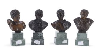 FOUR SMALL BRONZE BUSTS EARLY 20TH CENTURY