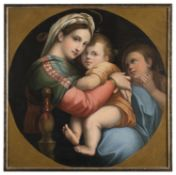 OIL PAINTING OF OUR LADY OF THE CHAIR LATE 19TH CENTURY