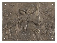 BRONZE BAS-RELIEF OF THE VIRGIN AND CHILD SIGNED 'A. BRIVIO' 19TH CENTURY