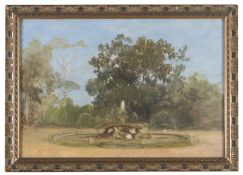OIL PAINTING OF THE THE FOUNTAIN OF THE SEAHORSES OF VILLA BORGHESE 20TH CENTURY
