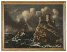 OIL PAINTING OF STORMY SEA SY DUTCH PAINTER LATE 17TH CENTURY