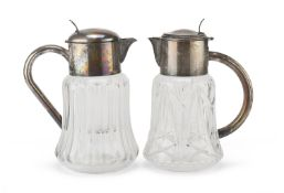 PAIR OF CRYSTAL AND SILVER-PLATED JUGS ITALY 20TH CENTURY