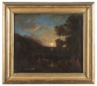OIL PAINTING OF NIGHT LANDSCAPE BY DUTCH PAINTER ACTIVE IN ITALY MID-17TH CENTURY