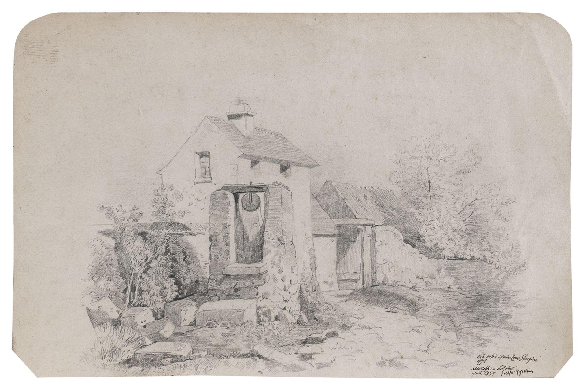 PENCIL DRAWING OF A FARM 19TH CENTURY
