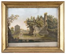 PAIR OF WATERCOLOR OF VIEWS OF ANCIENT ROME 19TH CENTURY