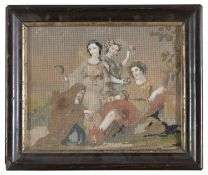 SMALL TAPESTRY WITH PAPER COLLAGE OF A BUCOLIC SCENE 19TH CENTURY