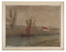 OIL PAINTING OF A RIVERSCAPE 20TH CENTURY