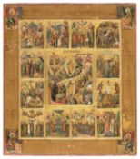RUSSIAN ICON THE TWELVE HOLIDAYS LATE 18TH CENTURY