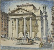 LITHOGRAPHY OF TRIESTE SIGNED 'S. LUCAS' 20TH CENTURY