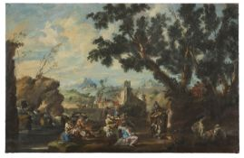 OIL PAINTING OF A CONVIVIAL SCENE IN THE MANNER OF ALESSANDRO MAGNASCO EARLY 20TH CENTURY