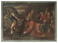 THREE PAINTINGS STATIONS OF THE CROSS BY LATE MANIERIST PAINTER