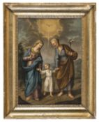 OIL PAINTING FLIGHT INTO EGYPT BY SPANISH PAINTER EARLY 19TH CENTURY