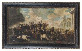 OIL PAINTING OF A BATTLE OF KNIGHTS EARLY 20TH CENTURY