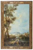 20TH CENTURY OIL PAINTED LANDSCAPE IN 18TH CENTURY STYLE