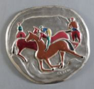 BAS-RELLIEF IN SILVER AND ENAMEL OF HORSMEN BY GIUSEPPE CESETTI
